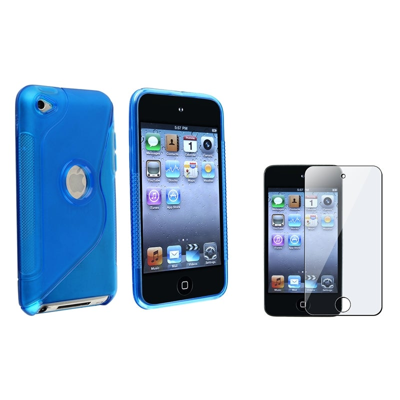 INSTEN Blue TPU iPod Case Cover/ Screen Protector for Apple® iPod Touch 4th Generation