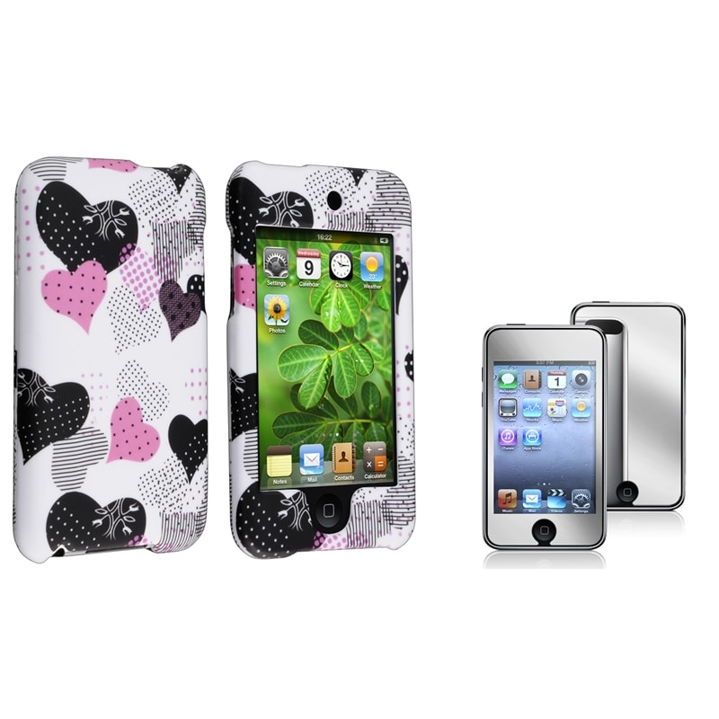 INSTEN Pink-and-Black Heart iPod Case Cover/ Mirror Screen Protector for Apple iPod Touch Generation 2/ 3
