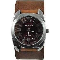 Nemesis Men's Retro Brown Leather-Strap Watch