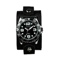 Nemesis Men's Groovy Black-Dial Leather Strap Watch