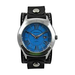 Nemesis Men's Roman Blue-Dial Casual Leather Strap Watch