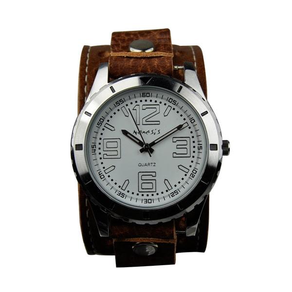 Nemesis Men's Sporty Racing Leather Strap Watch