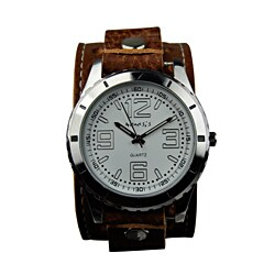 Nemesis Men's Sporty Racing Leather Strap Watch