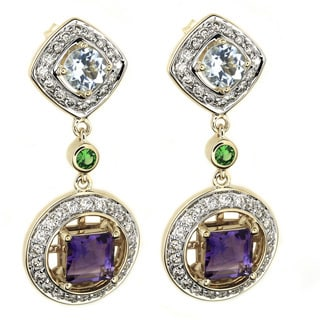 Beverly Hills Charm 14k Gold Multi-gemstones and 1ct TDW Diamonds Earrings