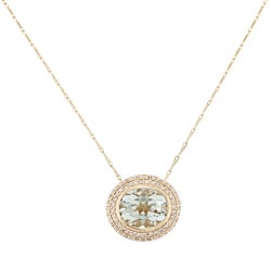Beverly Hills Charm 14k Gold Prasiolite and 1/3ct TDW Diamond Necklace