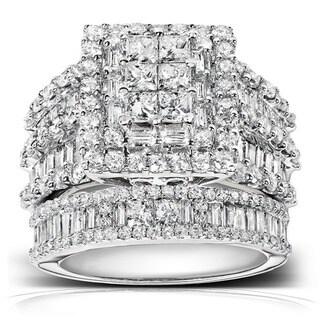 Annello 14k White Gold 2 4/5ct TDW Diamond Halo Bridal Ring Set (H-I, I2-I3)