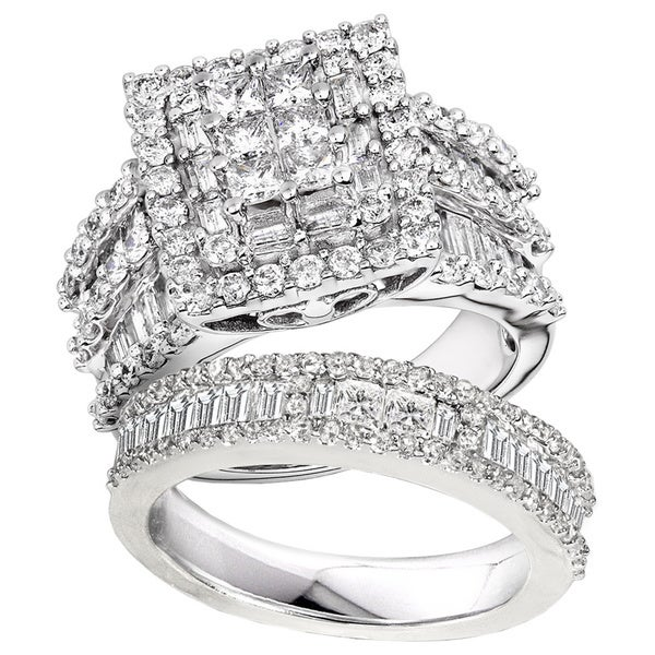Annello 14k White Gold 2 4/5ct TDW Diamond Halo Bridal Ring Set (H-I, I2-I3)
