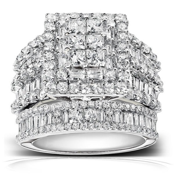 Annello by Kobelli 14k White Gold 2 4/5ct TDW Diamond Halo Bridal Ring Set (H-I, I2-I3)