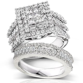 Link to Annello by Kobelli 14k White Gold 2 5/8ct TDW Diamond Halo Bridal Set Similar Items in Rings