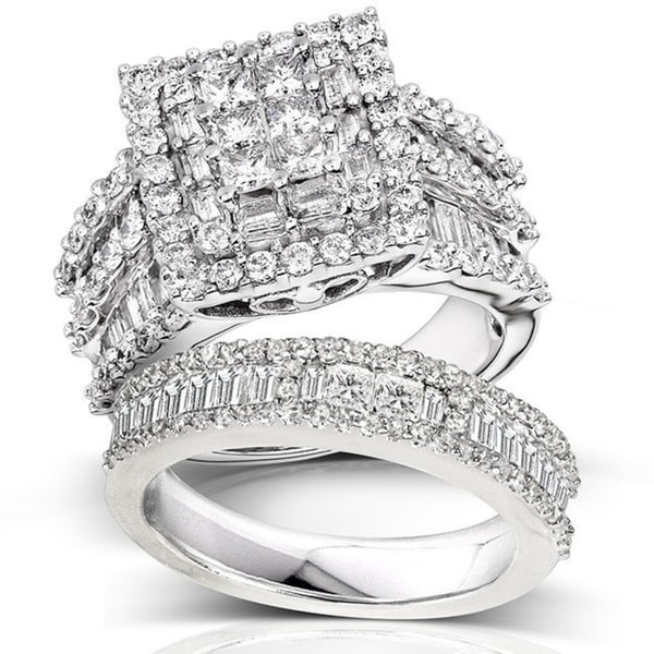 Annello by Kobelli 14k White Gold 2 5/8ct TDW Diamond Halo Bridal Set. Opens flyout.