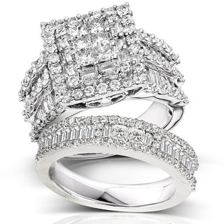 Annello 14k White Gold 2 4/5ct TDW Diamond Halo Bridal Ring Set