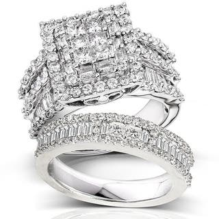 Annello 14k White Gold 2 4 5ct TDW Diamond Halo Bridal Ring Set