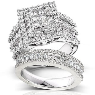 Annello By Kobelli 14k White Gold 2 5/8ct TDW Diamond Halo Bridal Ring Set
