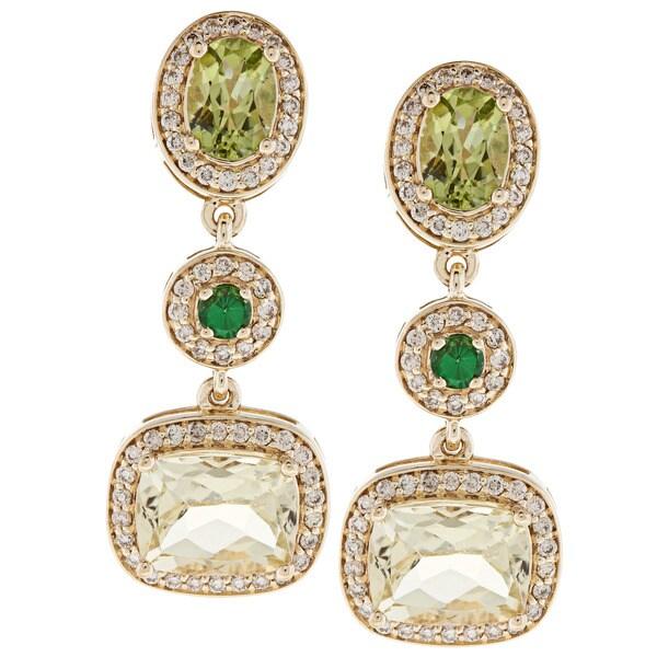 Beverly Hills Charm 14k Gold Gemstone and 3/4ct TDW Diamond Earrings (H-I, SI2-I1)