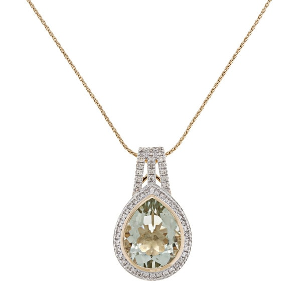 Beverly Hills Charm 14k Yellow Gold Prasiolite and 1/3ct TDW Diamond Necklace