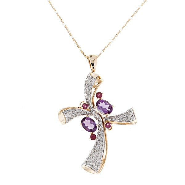 Beverly Hills Charm 14k Gold Multi-gemstone and 1ct TDW Diamond Cross Necklace