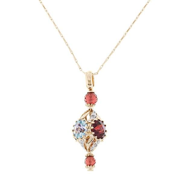 Beverly Hills Charm 14k Gold Multi-gemstone and 1/4ct TDW Diamond Necklace