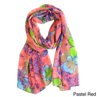 LA77 Women's Butterfly and Floral-Print Scarf