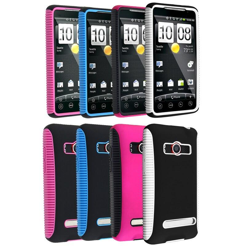 Pink/ Black/ Blue/ White Hybrid Cases for HTC EVO 4G/ Supersonic
