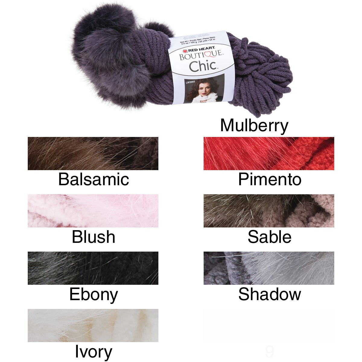 Clark Red Heart Boutique Chic Yarn (Ebony) (Polyester)