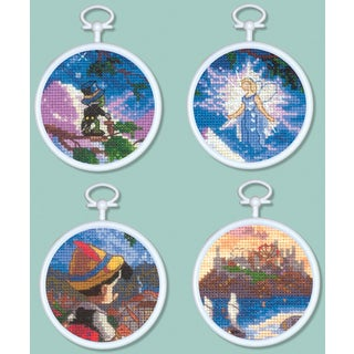 "Pinocchio Mini Vignettes Counted Cross Stitch Kit-3"" Round 16 Count Set Of 4"