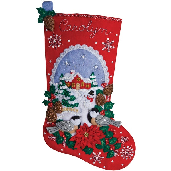 Chickadees Stocking Felt Applique Kit-18 Long