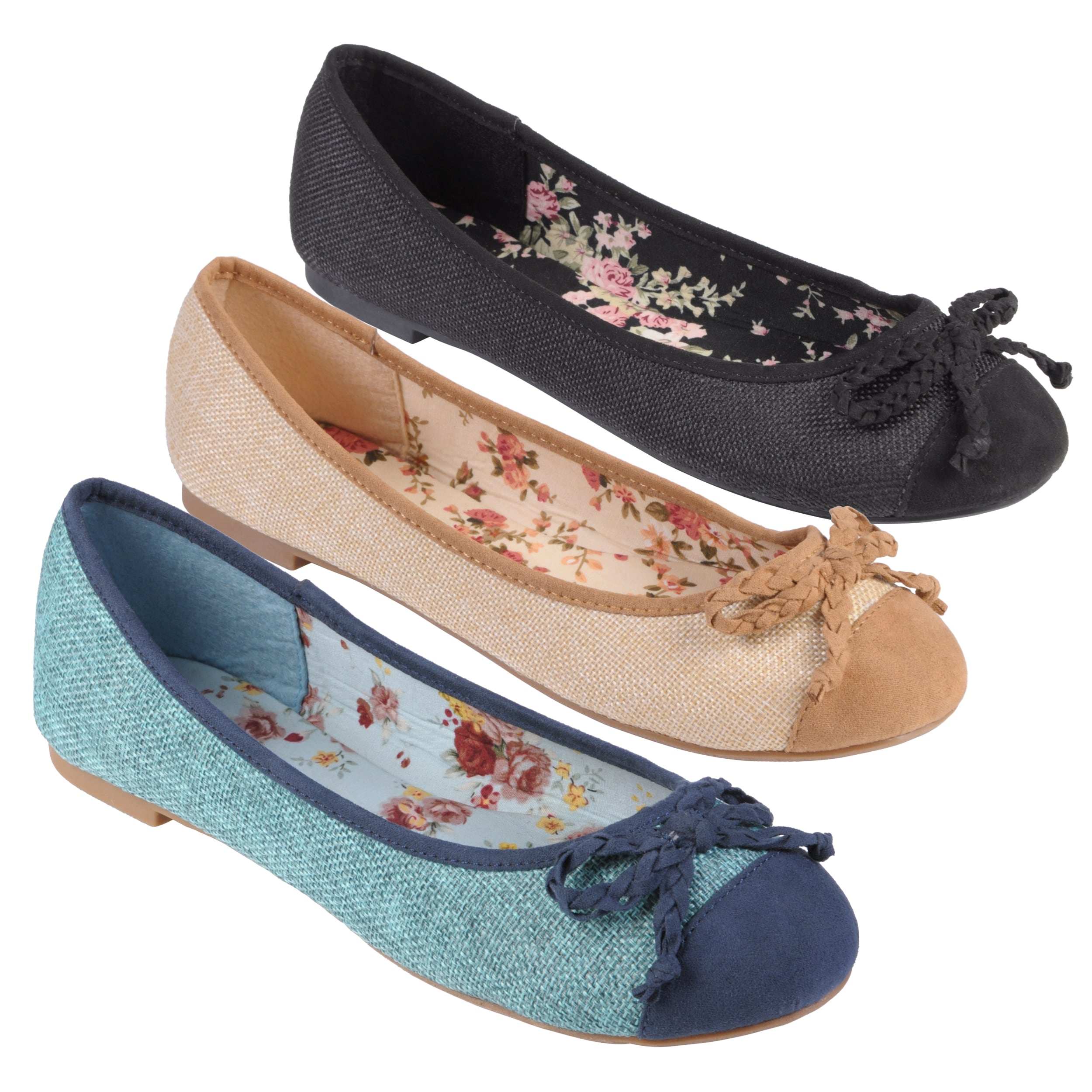 Tressa Collection Women's 'Pacific' Round Toe Bow Accent Ballet Flats