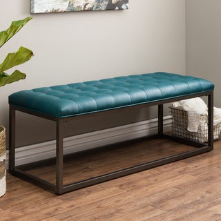 Jasper Laine Healy Teal Leather Tufted Bench