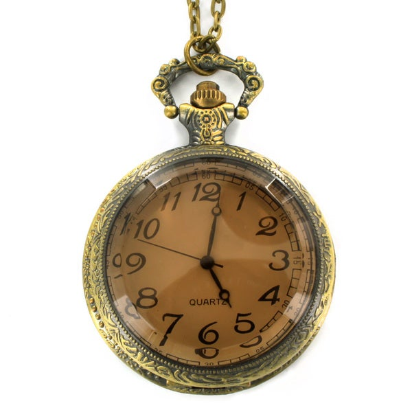 West Coast Jewelry Antiqued Bronze Colored Clock Necklace
