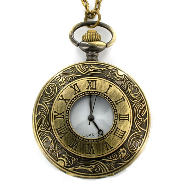 West Coast Jewelry Antiqued Bronze Colored Roman Numeral Clock Necklace