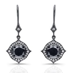 Victoria Kay 14k Black Gold 6 2/5ct TDW Black and White Diamond Halo Earrings