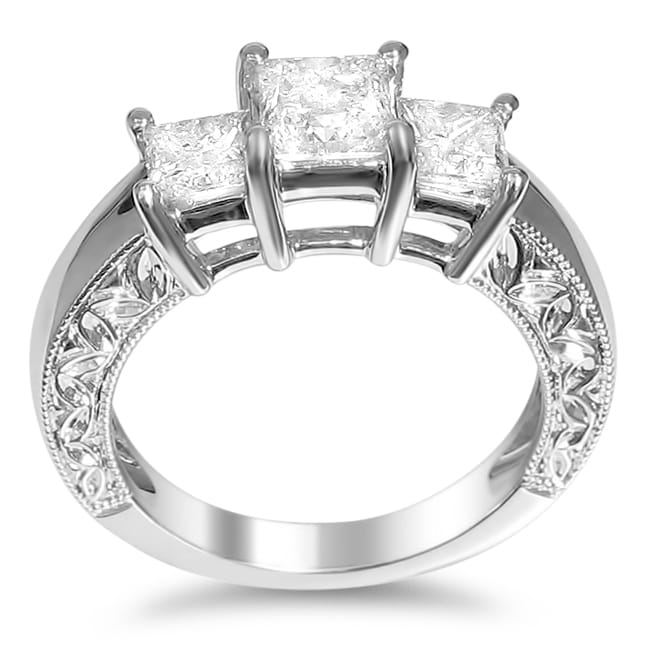 Montebello 14k White Gold 2ct TDW Princess Diamond Engagement Ring (H-I, I1-I2)