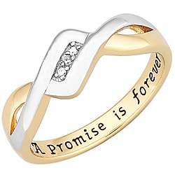 18k Gold over Sterling Silver 'A Promise is Forever' Diamond Ring - Thumbnail 1