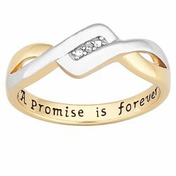 18k Gold over Sterling Silver 'A Promise is Forever' Diamond Ring