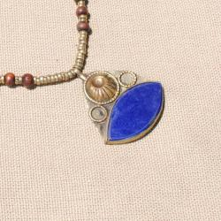 Hand-made One Eyed Lapis Lazuli Necklace (Afghanistan)