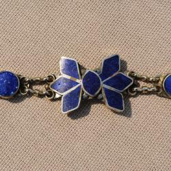 Hand-made Star Shaped Lapis Lazuli Chain Bracelet (Afghanistan) - Thumbnail 1