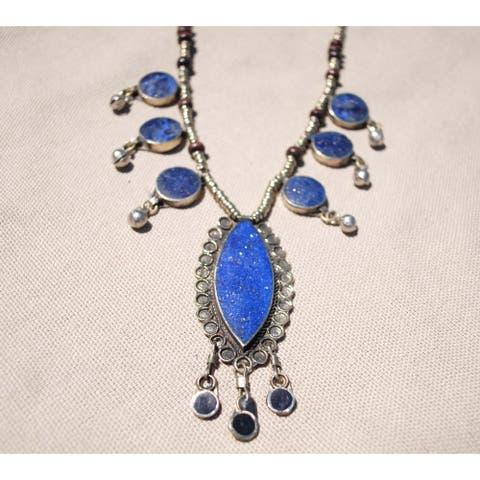 Handmade Tribal Lapis Lazuli and Silver Necklace (Afghanistan)
