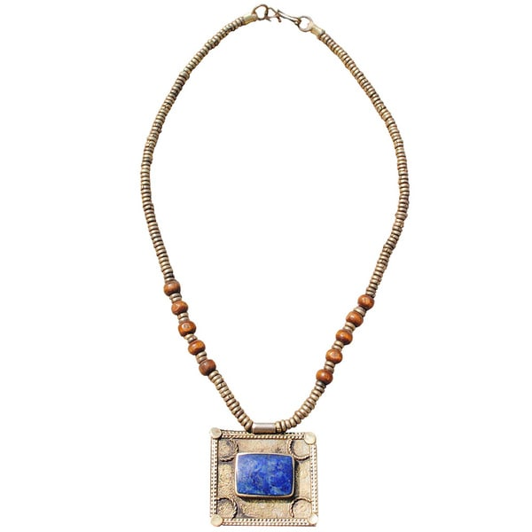 Hand-made Blue Square Shaped Lapis Lazuli Necklace (Afghanistan)