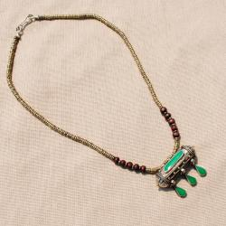 Hand-made Green Tawiz Pendant Necklace (Afghanistan) - Thumbnail 1