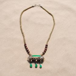 Hand-made Green Tawiz Pendant Necklace (Afghanistan) - Thumbnail 2