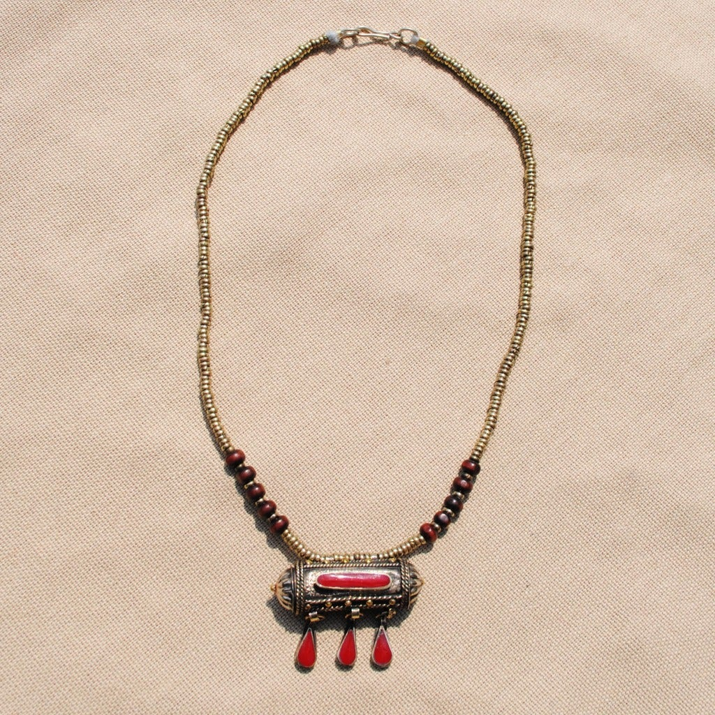 Hand-made Red Tawiz Pendant Necklace (Afghanistan)