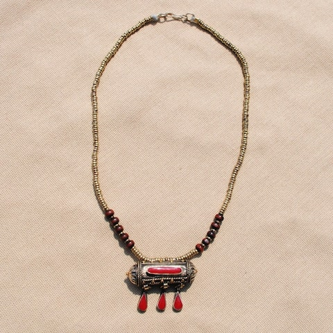 Handmade Red Tawiz Pendant Necklace (Afghanistan) - 48mm wide x 10.25 inches long