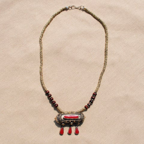 Handmade Red Tawiz Pendant Necklace (Afghanistan)