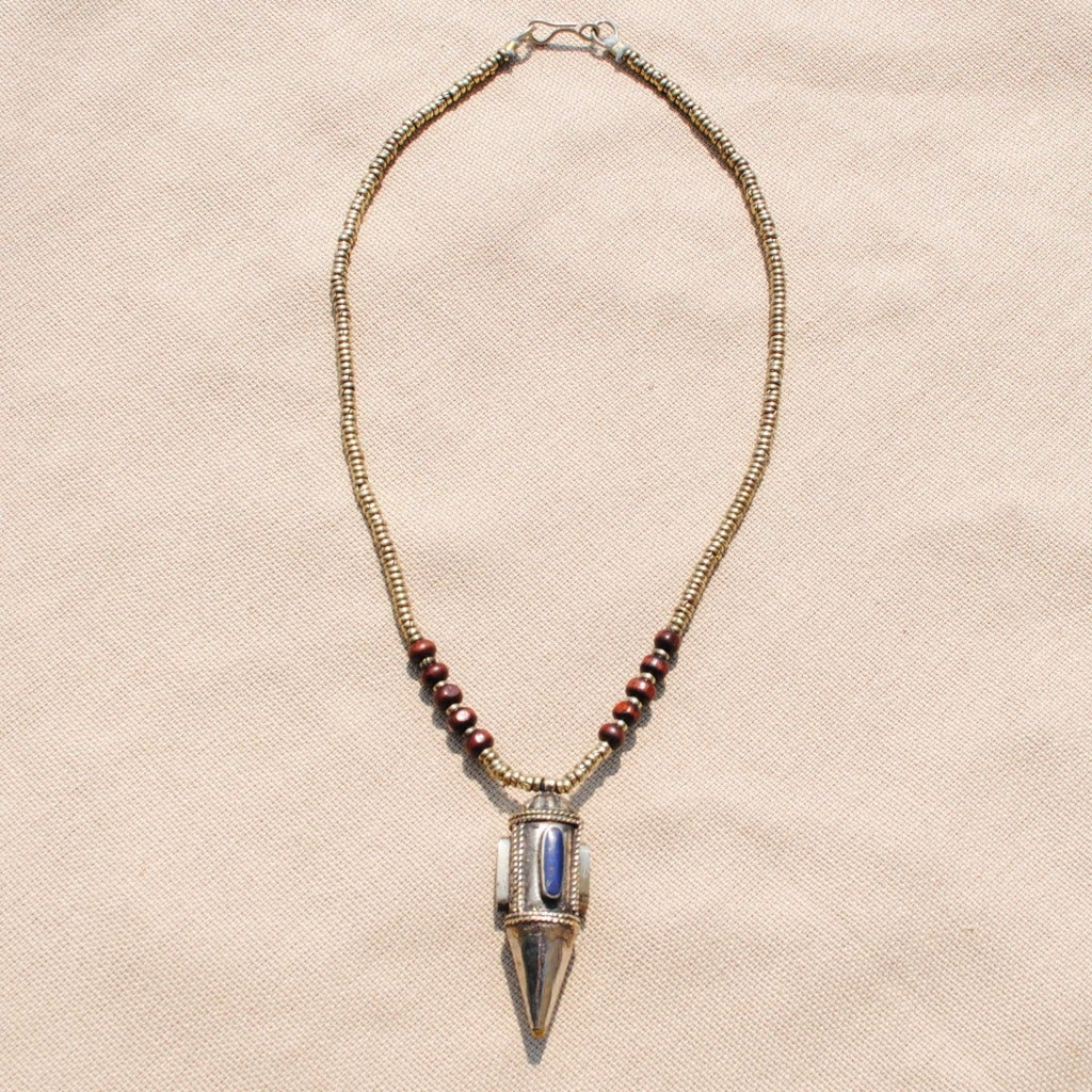 Handmade Blue Bullet Pendant Necklace (Afghanistan) - Thumbnail 0