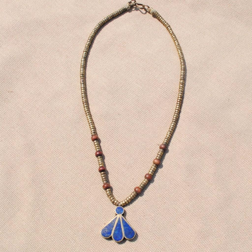 Hand-made Blue Lapis Lazuli Fan Pendant Necklace (Afghanistan)