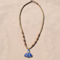Handmade Blue Lapis Lazuli Fan Pendant Necklace (Afghanistan) - 28mm wide x 9.5 inches long