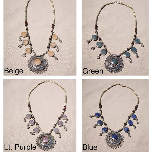 Handcrafted Tribal Lapis Lazuli Necklace with 50mm Stone (Afghanistan)