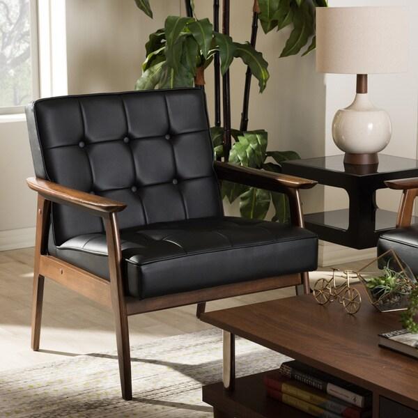 Stratham Black Mid Century Modern Club Chair