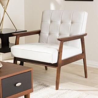 Stratham White Mid-century Modern Club Chair
