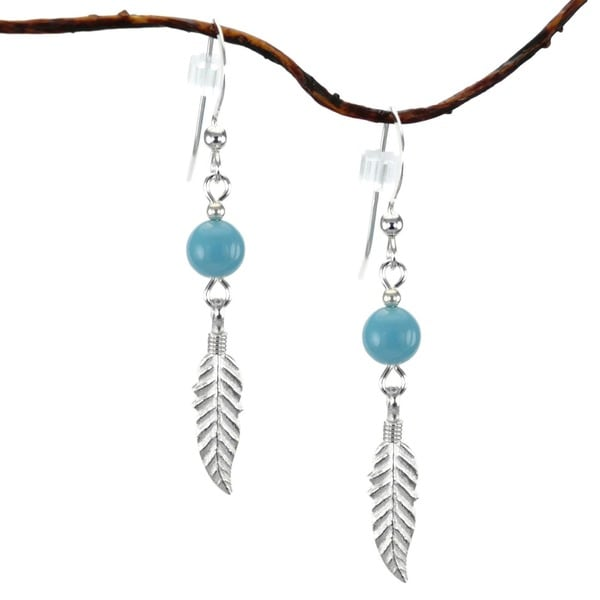 Jewelry by Dawn Crystal Blue Turquoise With Feather Sterling Silver Earrings